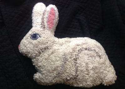 Handmade Hooked Bunny – Pattern available for Sale at Mill Village Wool Mercantile