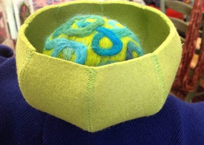 Handmade Wool Bowl with Hand Felted Wool Pincushion for Sale at Mill Village Wool Mercantile